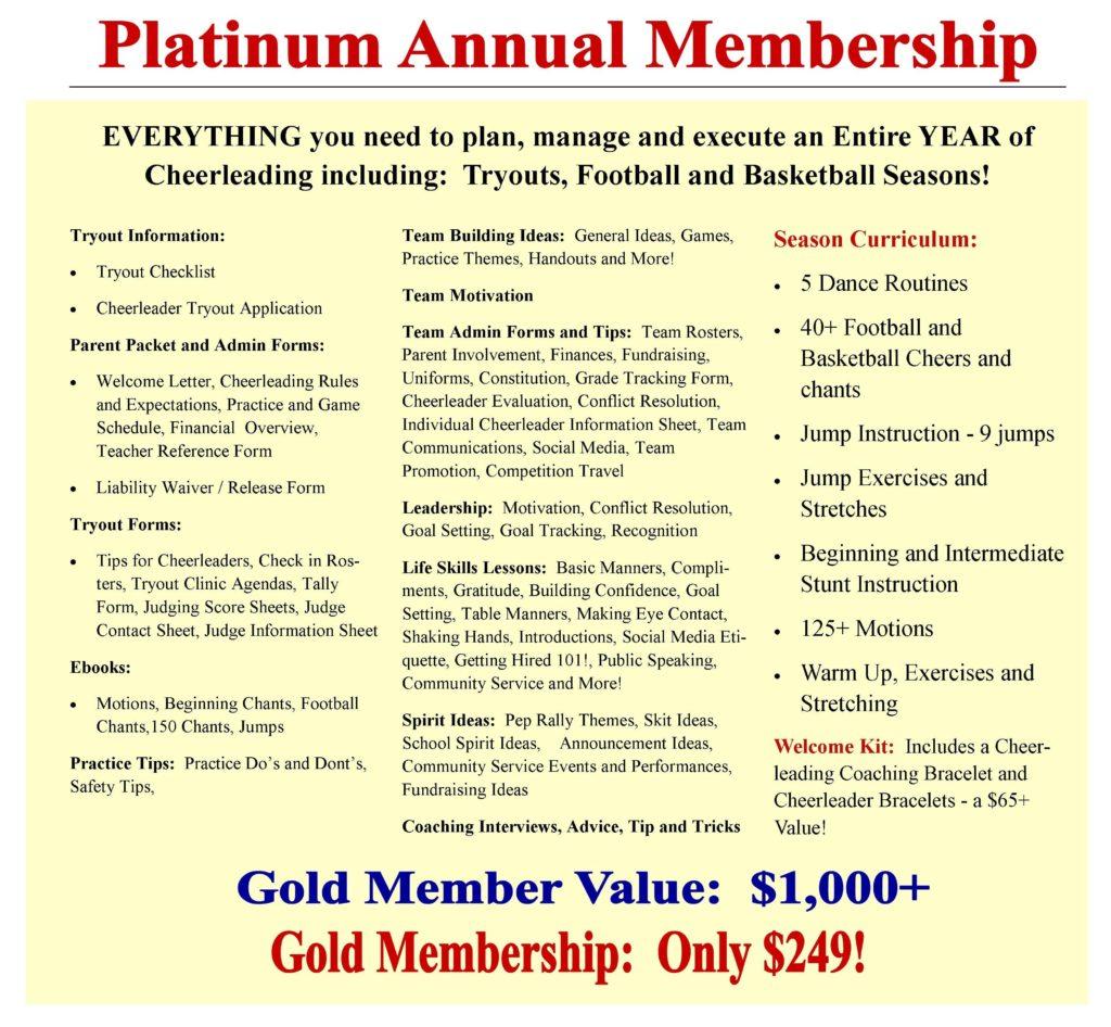 Cheerleading Coaching Center Platinum Membership