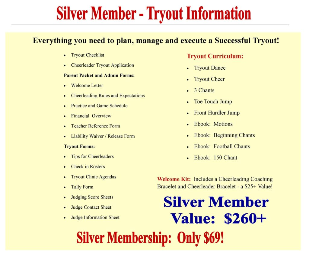 Cheerleading Coaching Center Silver Membership
